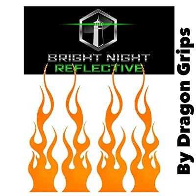 "Reflective Flame Set of (4) 1.25""x5.25"" Great for Helmets, Motorcycles, Computer Stickers, Phone, Tablet, Hard hat (Orange): Automotive"
