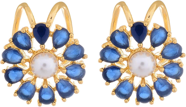 New 1pc Flower Shape Rhinestone Left Ear Cuff Clip Golden Earring Ear Stud