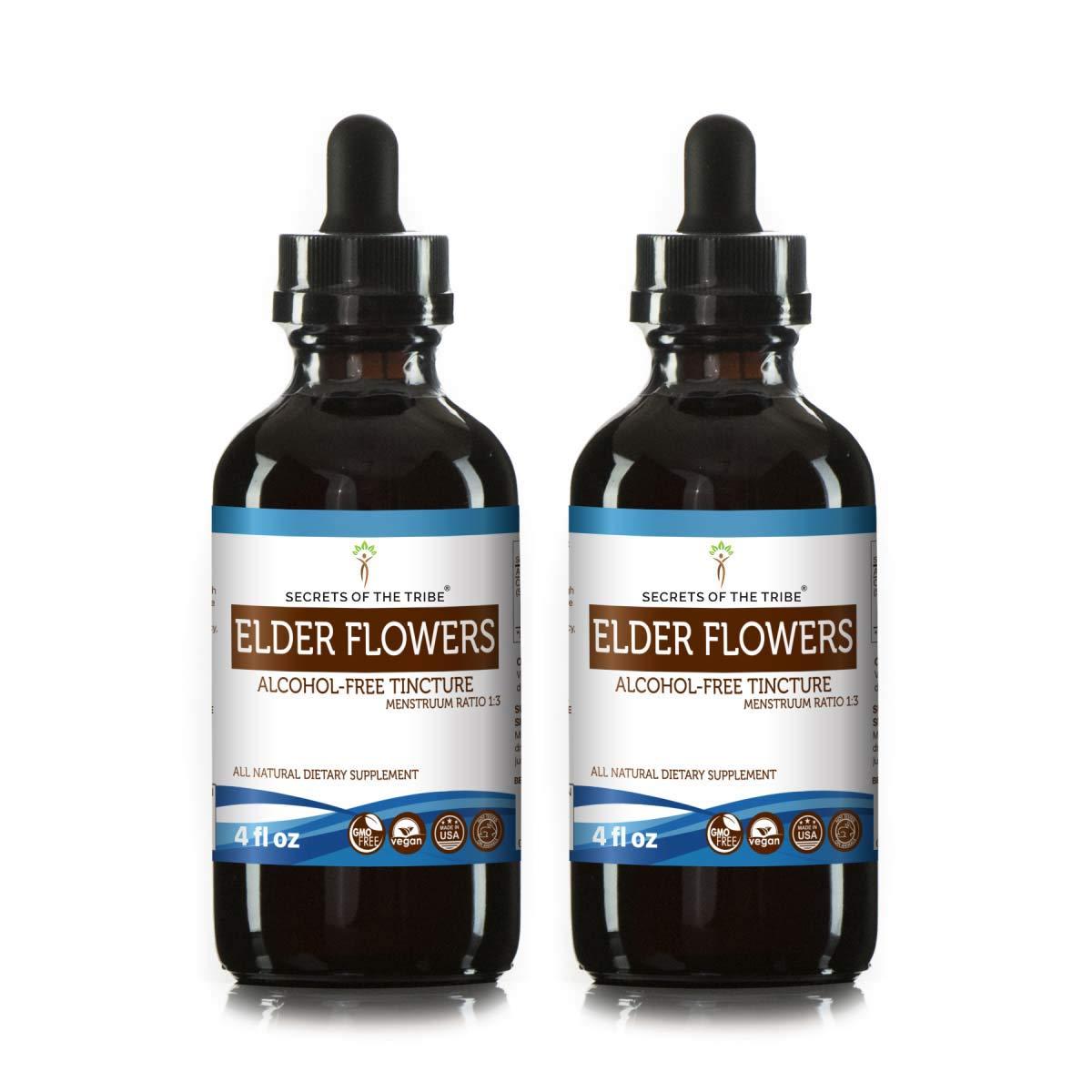 Elder Flowers Alcohol-Free Tincture Liquid Extract, Organic Elder Flowers (Sambucus Nigra) Dried Flowers (2x4 fl oz)