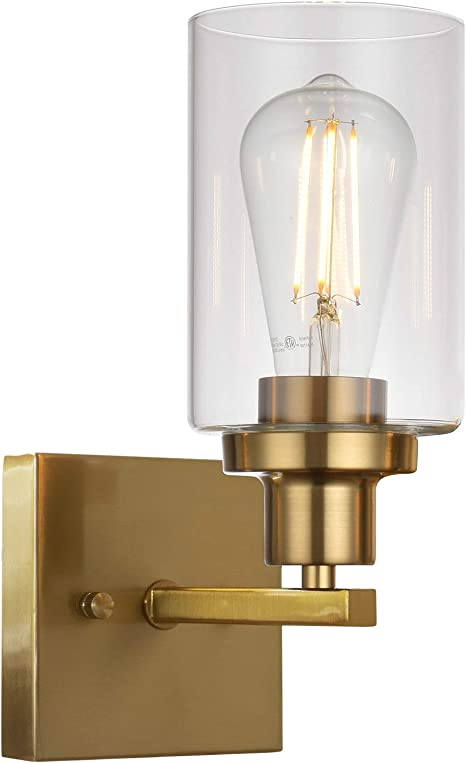 Melucee 1 Light Sconces Brass Wall Mount Light With Clear Glass Shade Bathroom Vanity Lights Hallway Light Fixtures Wall Lights Bedroom