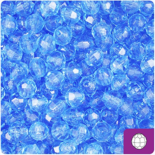 (BeadTin Light Sapphire Blue Transparent 8mm Faceted Round Craft Beads (450pc))