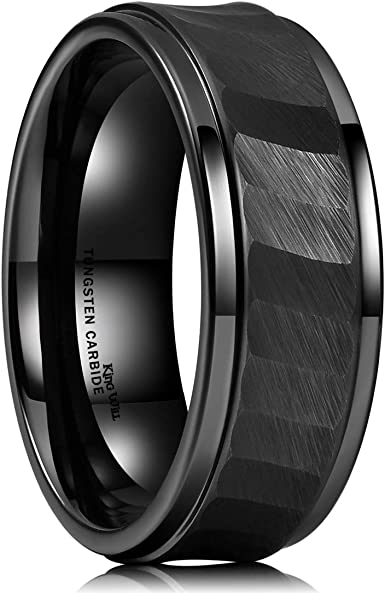 Mens Wedding Band Tungsten Ring Brushed Silver with Black Comfort fit band Mens Ring