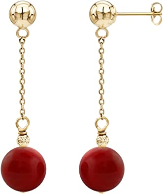 White Gold or Sterling Silver Dark Red Simulated Coral Ball Stud Earrings 14k Yellow Gold