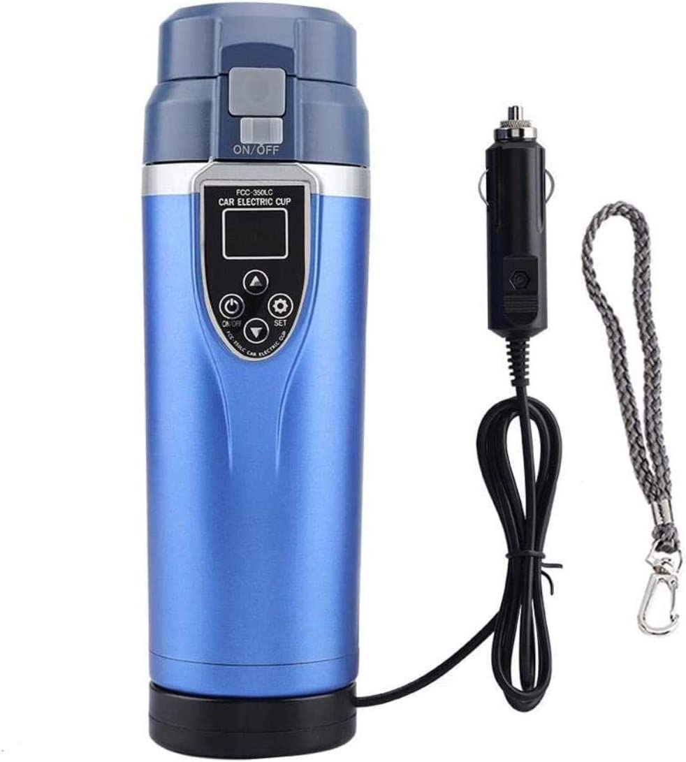 Electric Smart Car Heating Cup Multifunction Travel Portable Teakettle Hot Water Cup Electric Kettle Boiling Water Bettle Travel Use (DC12V/24V)(Blue)