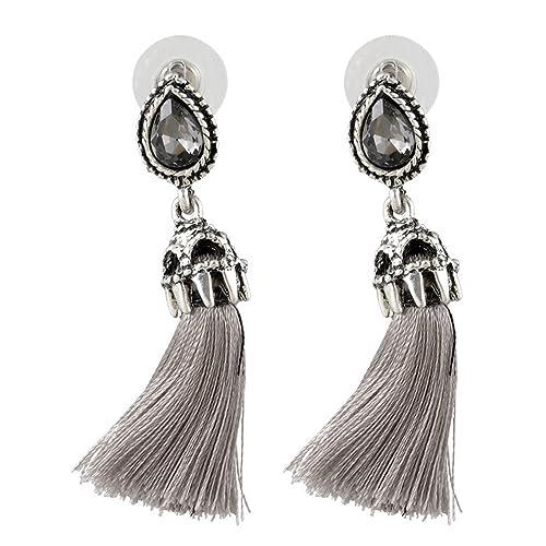 MJARTORIA Damen Silber Farbe Vintage Statement Ohrringe mit CZ Kristall Grau Tassel Anhänger 5cm