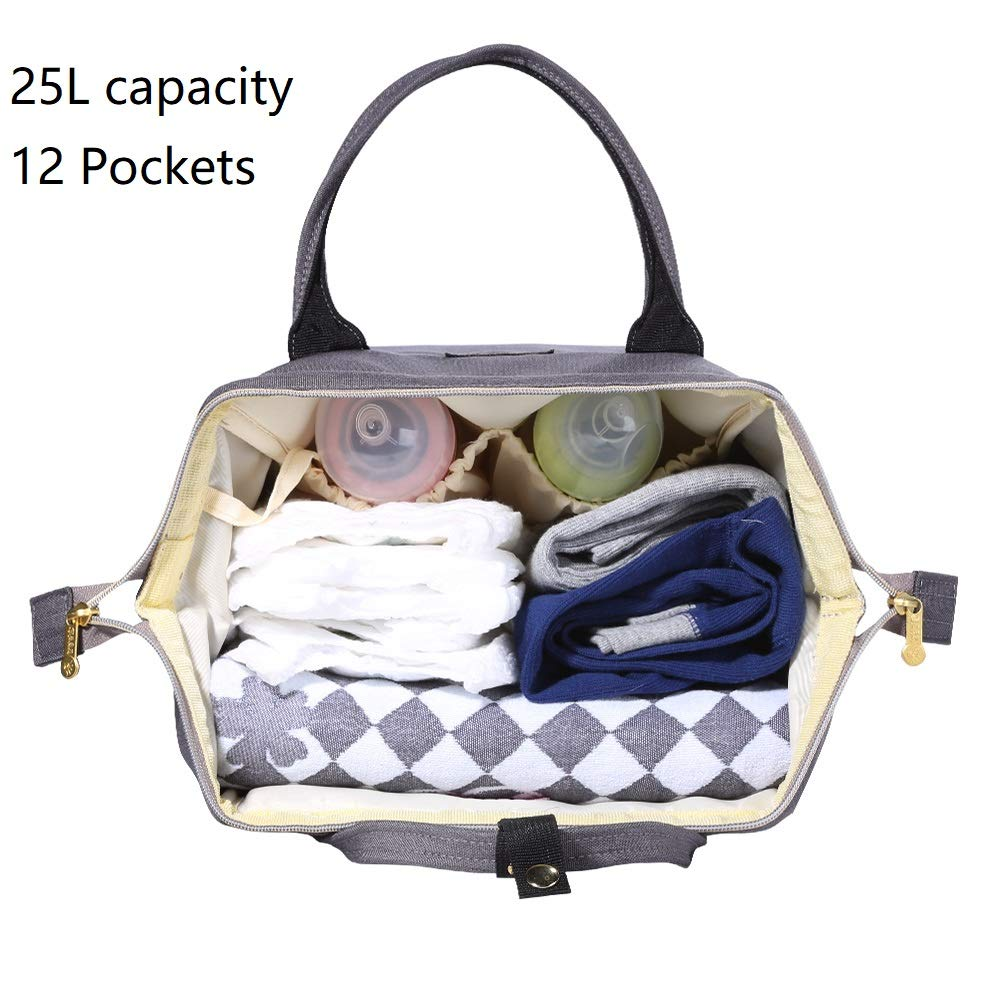 Sunveno Baby Diaper Bag Mummy Maternity Nappy Bag Large Capacity Travel Backpack Desiger Nursing Bag for Baby Care (Olive) by SUNVENO (Image #5)