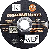 """Grinding Wheel –For Heavy Duty Grinding, Intended For Grinding Metal/Steel Only, 5 Piece 4 ½ Inch For Angle Grinder- Aluminum Oxide Wheel – 4-1/2″ X 1/4"""" X 7/8″- By Katzco"""