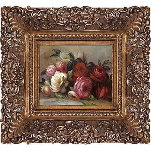 Rose Oil Painting (overstockArt Discarded Roses Oil Painting with Burgeon Gold Frame by Renoir, Organic Pattern Facade with Gold Finish)