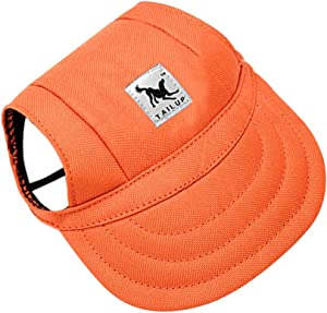Happy Hours Dog Hat, Pet Baseball Cap/Dogs Sport Hat/Visor Cap with Ear Holes and Chin Strap for Dogs and Cats, 2 Sizes, 10 Colors