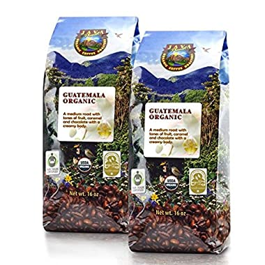Java Planet - Guatemalan USDA Organic Coffee Beans, Medium Roast, Shade Grown, Bird Friendly, Rainforest Alliance, Arabica Gourmet Specialty Grade A - packaged in 2 1 LB bags