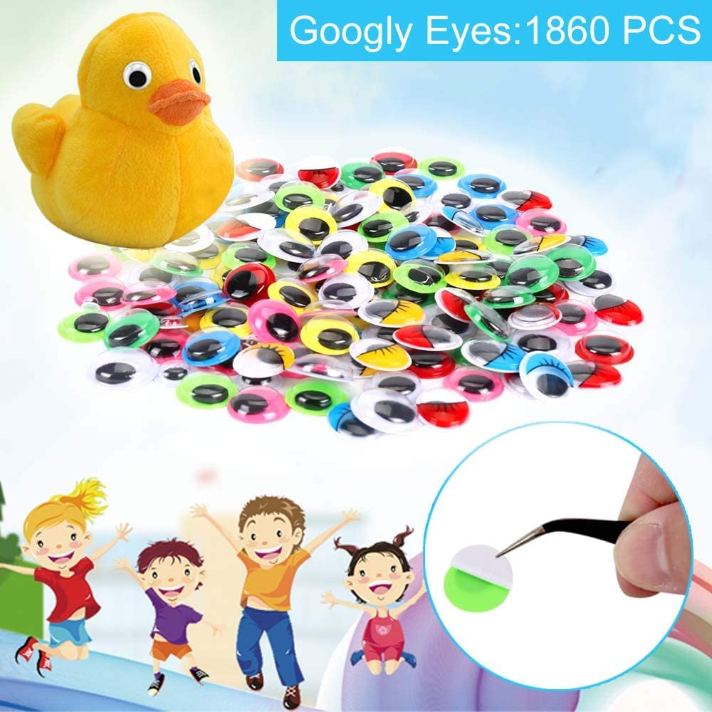 1860pcs Googly Wiggle Eyes Self-Adhesive Wobbly Eyes for Craft Stickers Multi Colors and Sizes for DIY Craft Scrapbooking Decorations by AMOKIA
