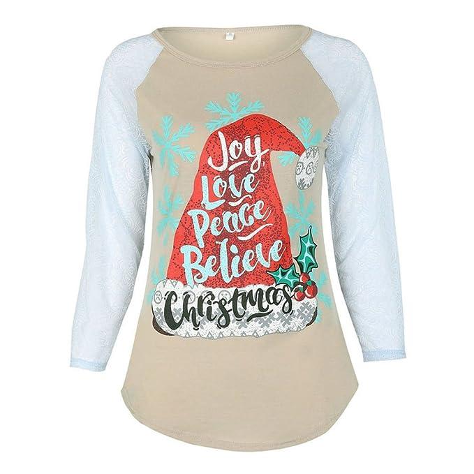 Pijamas a juego de Navidad - hibote Camisetas de manga larga para Adultos / niños camisón blusas Tops camisetas: Amazon.es: Ropa y accesorios