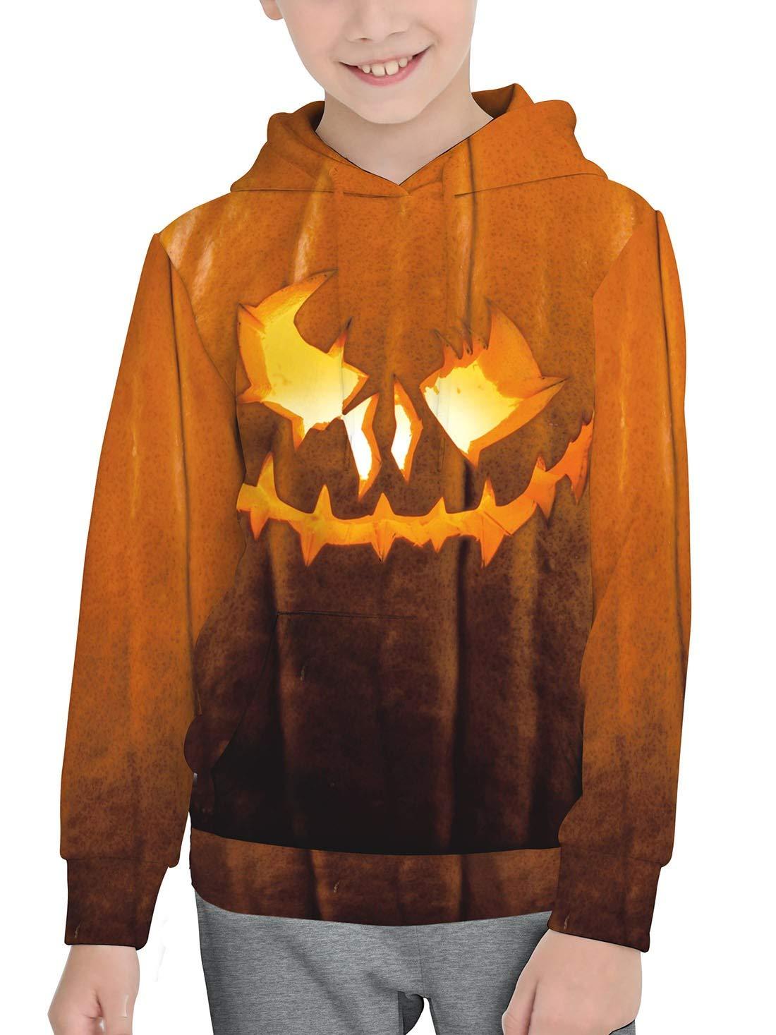 Unisex Kid's Halloween Long Sleeve Hoodies Graphic Pumpkin Printing Sweatshirts Yellow Pullover Tops 2-4T