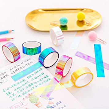 Yinuneronsty Glitter Rainbow Washi Striscia di Carta Scrapbooking Nastri Adesivi Decorativi Fai da Te Banda di mascheratura Rosa