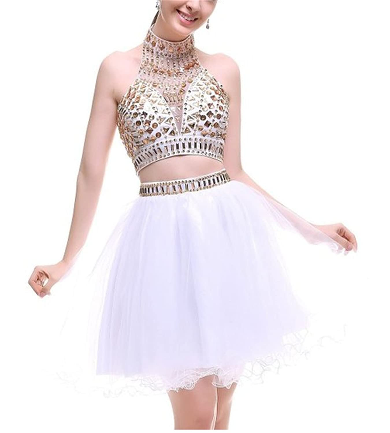 HelloGirls Women's Two Pieces Halter Coral Homecoming Rhinestones Short Formal Prom Dress