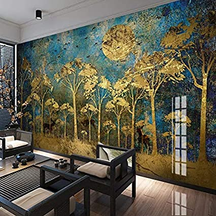 Mur Peinture Murale Style Chinois Abstrait Foret Doree Arbre