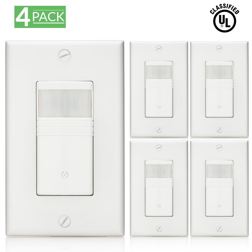 Sunco Lighting 4 Pack Vacancy & Occupancy Motion Sensor Wall Switch, UL LISTED, Title 24 Qualifed, 180° Field View, Automatic and Manual ON/OFF, Neutral Wire Required, White