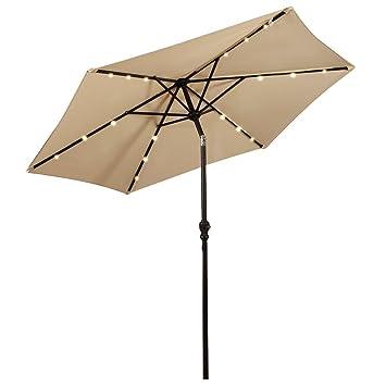 Giantex 9ft Patio Solar Umbrella LED Patio Market Steel Tilt W/ Crank  Outdoor (Beige