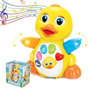 ToyThrill Duck Toy - Best of Baby Toys for Infant 1 Year Old Babies or toddler - Music, Light Up & Dancing Modes - Awesome Baby Shower Gift for Boys & Girls, 6 Singing Musical Songs (Yellow)