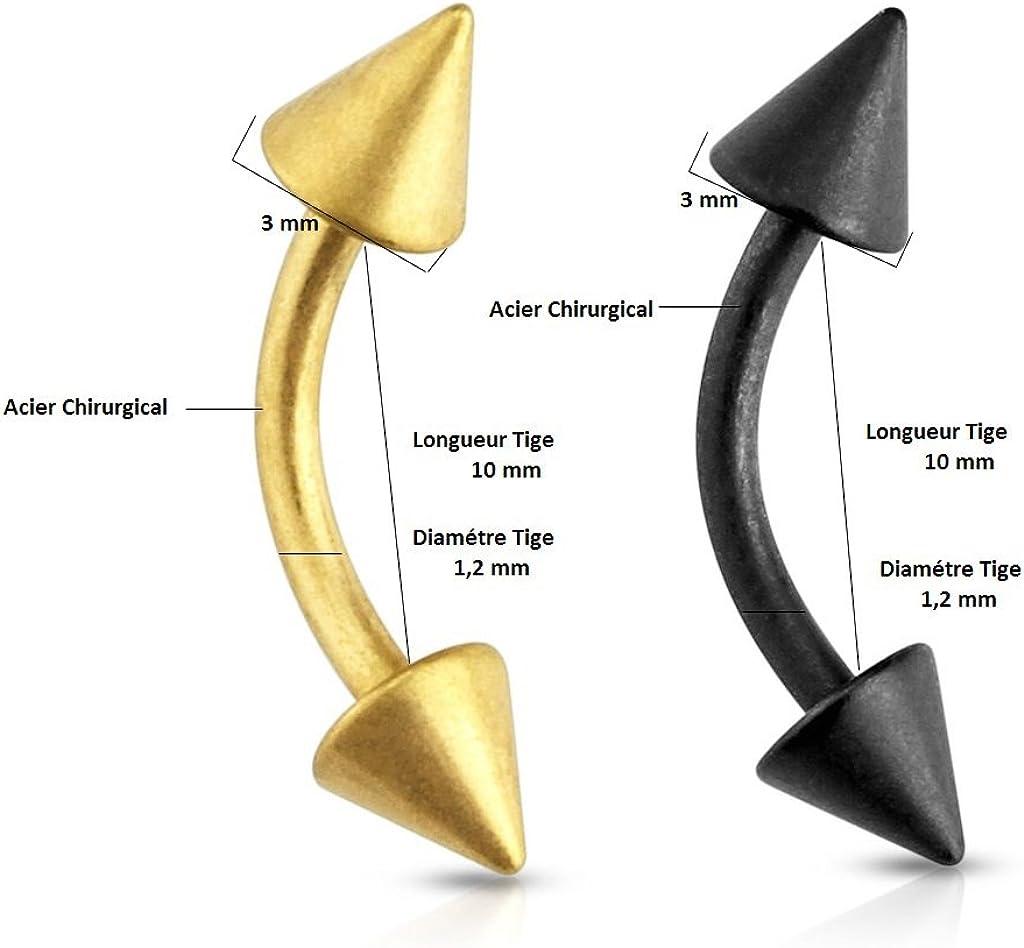 Piercing Arcade Deux longueur de tige en acier couleur Doré