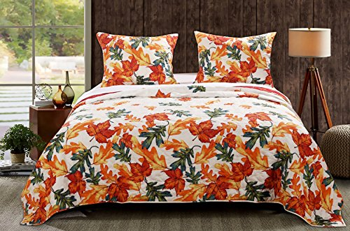 Barefoot Bungalow Falling Leaves Quilt Set, King, Multi -