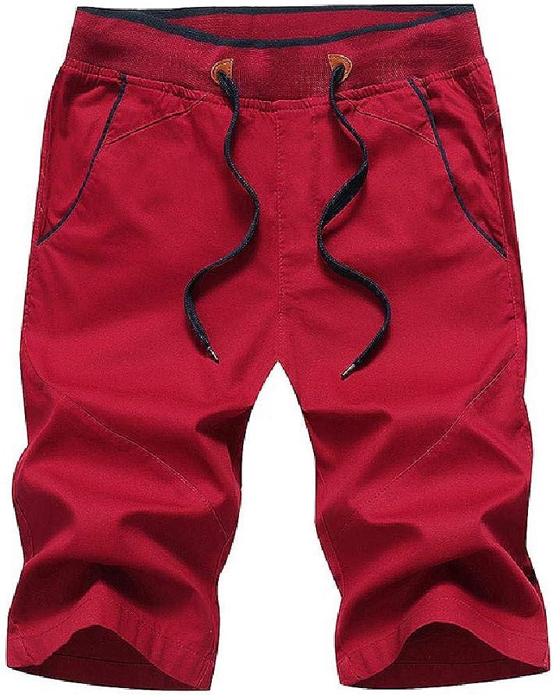 Pantalones Cortos de Verano 2020 para Hombre Pantalones Casuales de algodón Puro Pantalones Cortos con Cordones Ajustados