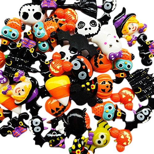 Chenkou Craft Random 20pcs Mix Lots Resin Flatback Flat Back Halloween Craft Embellishment Wizard Pumpkin Lantern Ghost Spider Skull