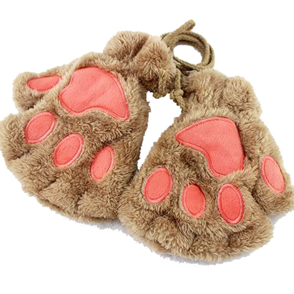 Himine Cat Claw Bear Paw Fingerless Winter Plush Gloves 1Pair