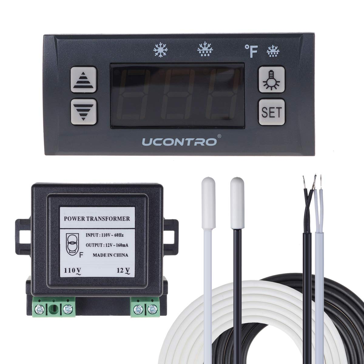UCONTRO SF-102 Digital Temperature Controller Electronic Thermostat -40 to 120℉ -45 to 45℃ Switchable with Defrost & Alarm, 2 Sensor Probes for Refrigerators & Freezers Defrosting (Set Version)
