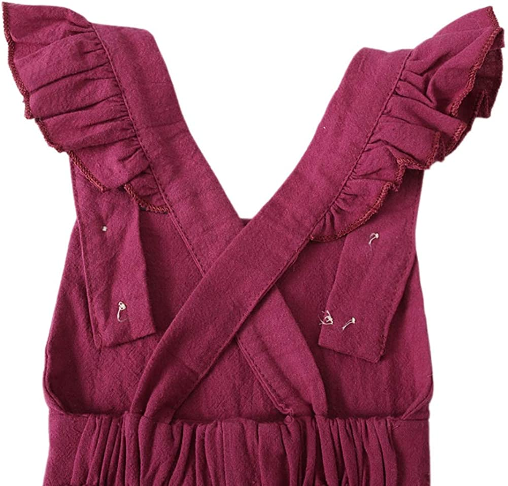 Hongyuangl Baby Girl Dungarees Ruffles Strap Overall Pants Bloomer Suspender Trousers 6-24 Months