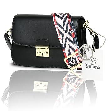 24a35882d Yoome Cinturón Flap Bolsa Medio Crossbody Bolsas Para Las Mujeres En Venta  Boho Bolsos Bolsos Cuero - Negro: Amazon.es: Equipaje