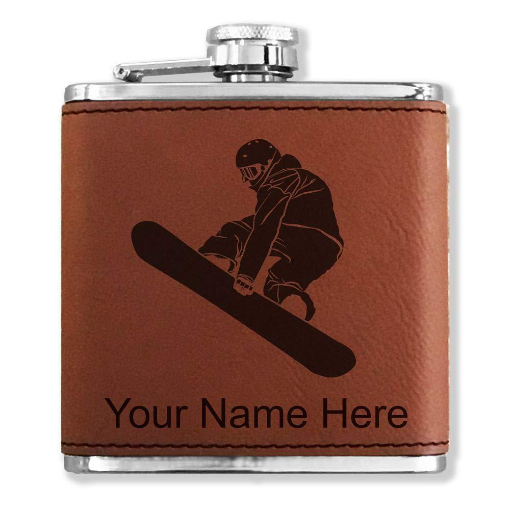 【お買得】 フェイクレザーフラスコ – – B013M9QTGO Snowboarder – Man – カスタマイズ彫刻Included (ダークブラウン) B013M9QTGO, Cielo Blu ONLINE STORE:025506e5 --- tadevakaryam.com
