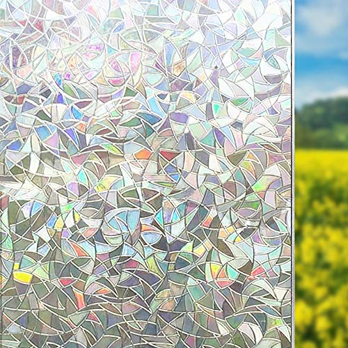 3D Decorative Window Film No Glue Sticker Reflective Decor Translucent Glass Door Film/Heat Control/Anti UV/Privacy Protection, Stained Glass Static Cling for Kitchen/Bedroom, 35.5x78.7 inch