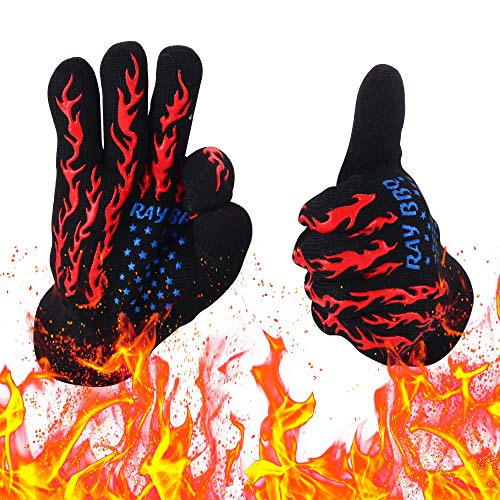 Camp Chef Heat Resistant Gloves - Heat Resistant Gloves - For Temperatures Up To 999°F, Hand Protection For Cooking, Baking, Fireplace, Smoker, Grilling & Barbecue, Fire Proof Kitchen Gloves For Handling BBQ, Pots & Pans (Black-red)