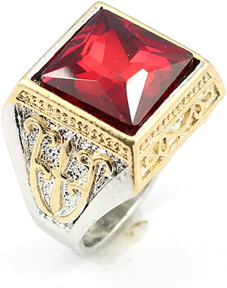 BEST QUALITY GARNET FASHION JEWELRY SILVER PLATED AND BRASS RING 11 S22976