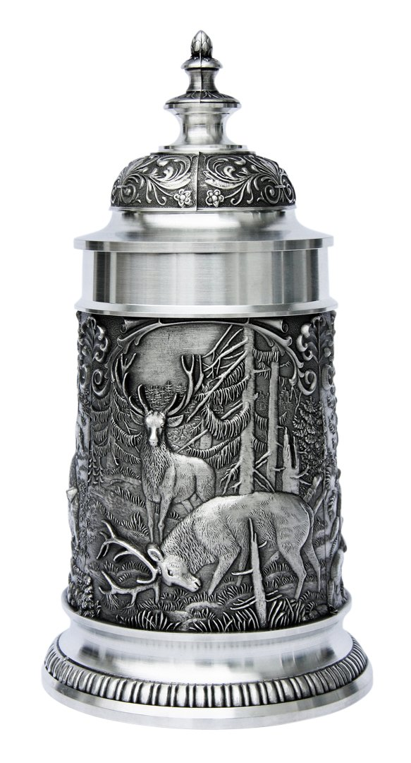 Pewter Beer Stein | Hunters Pewter Beer Stein with Elk and Boar 0.5 L Made in Germany