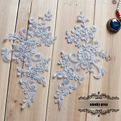 2 Pcs Gray Flower Lace Patches for Wedding Dress DIY Clothing Flower Applique Collar Material