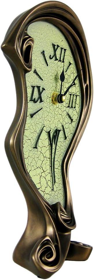 Veronese Design Cool Bronze Finish Melted Mantel Clock Table Desk Dali