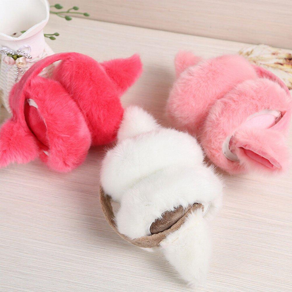 Women Girls Foldable Faux Fur Earmuff Fluffy Cat Ear Earwarmer Warm Headband
