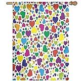 HUANGLING Hearts Rainbow Vibrant Colors Love Honeymoon Joyful Fun Cheering Artwork Home Flag Garden Flag Demonstrations Flag Family Party Flag Match Flag 27''x37''