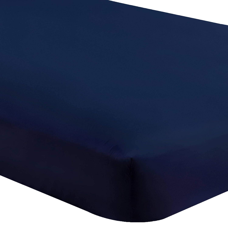 Bare Home Fitted Bottom Sheet Queen - Premium 1800 Ultra-Soft Wrinkle Resistant Microfiber - Hypoallergenic - Deep Pocket (Queen, Dark Blue)
