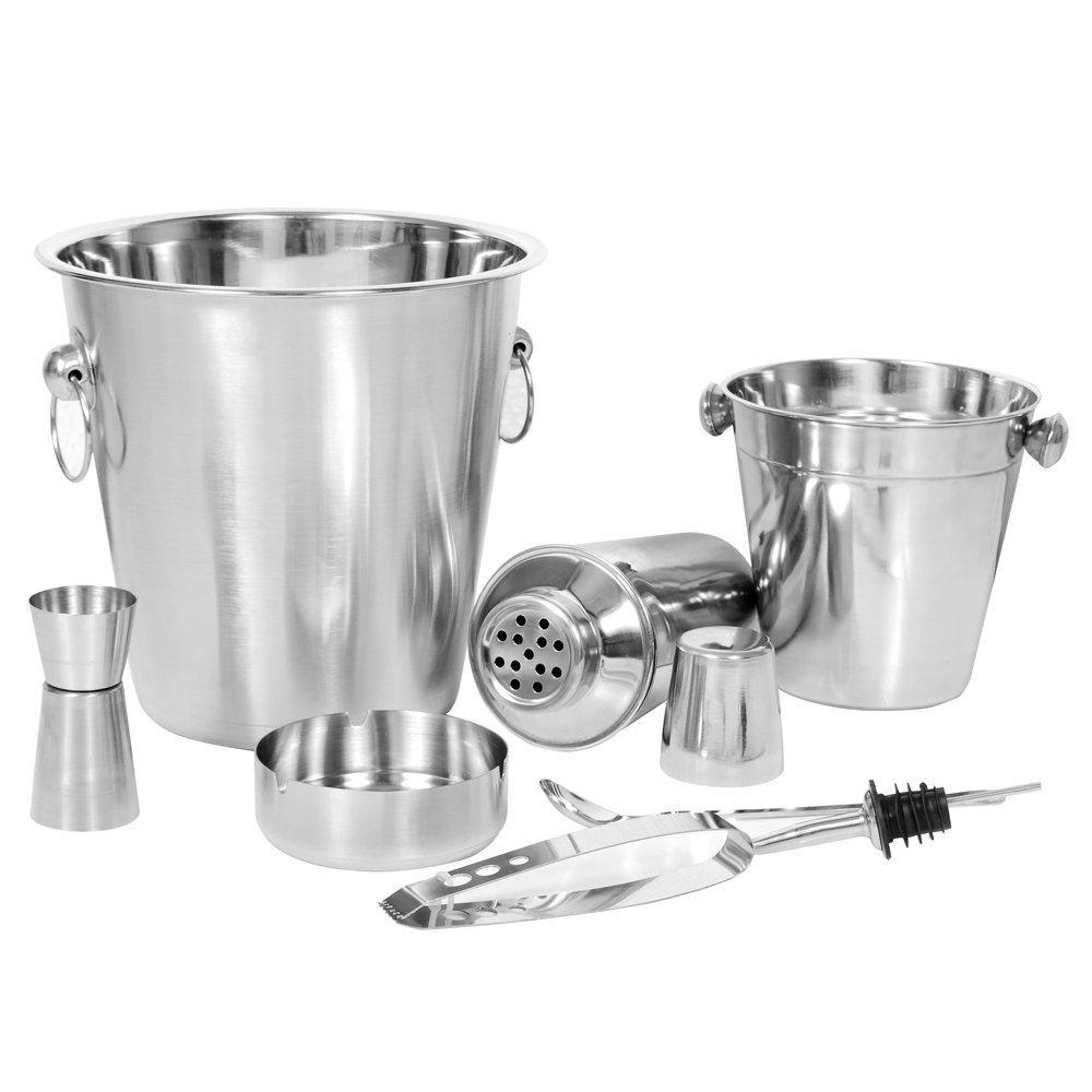 Bar Kit Juego de herramientas incluye: Champagne cuchara 21 x 21cm, Cocktail Shaker 500ml, Peg Medidor 30x60ml, Bar 8 cuchara de mezcla Kosma c/óctel conjunto de 7 piezas de acero inoxidable Barware