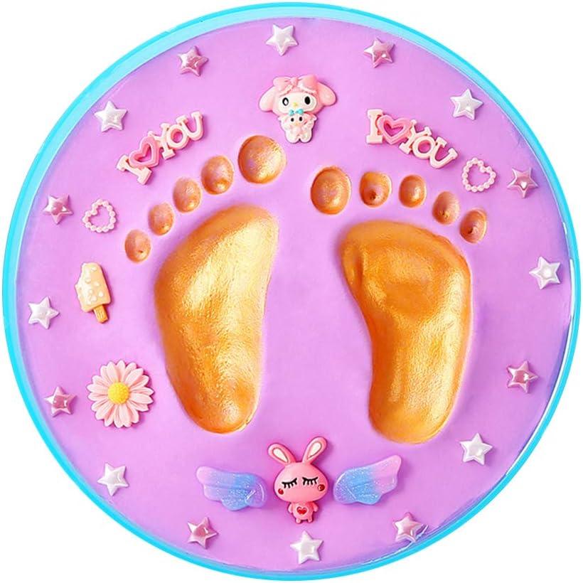 MeterMall DIY Newborn Baby Handprint /& Footprint Inkpad Plasticine Baby Memory Souvenirs Soft Clay Makers Gift Pink Box Purple mud