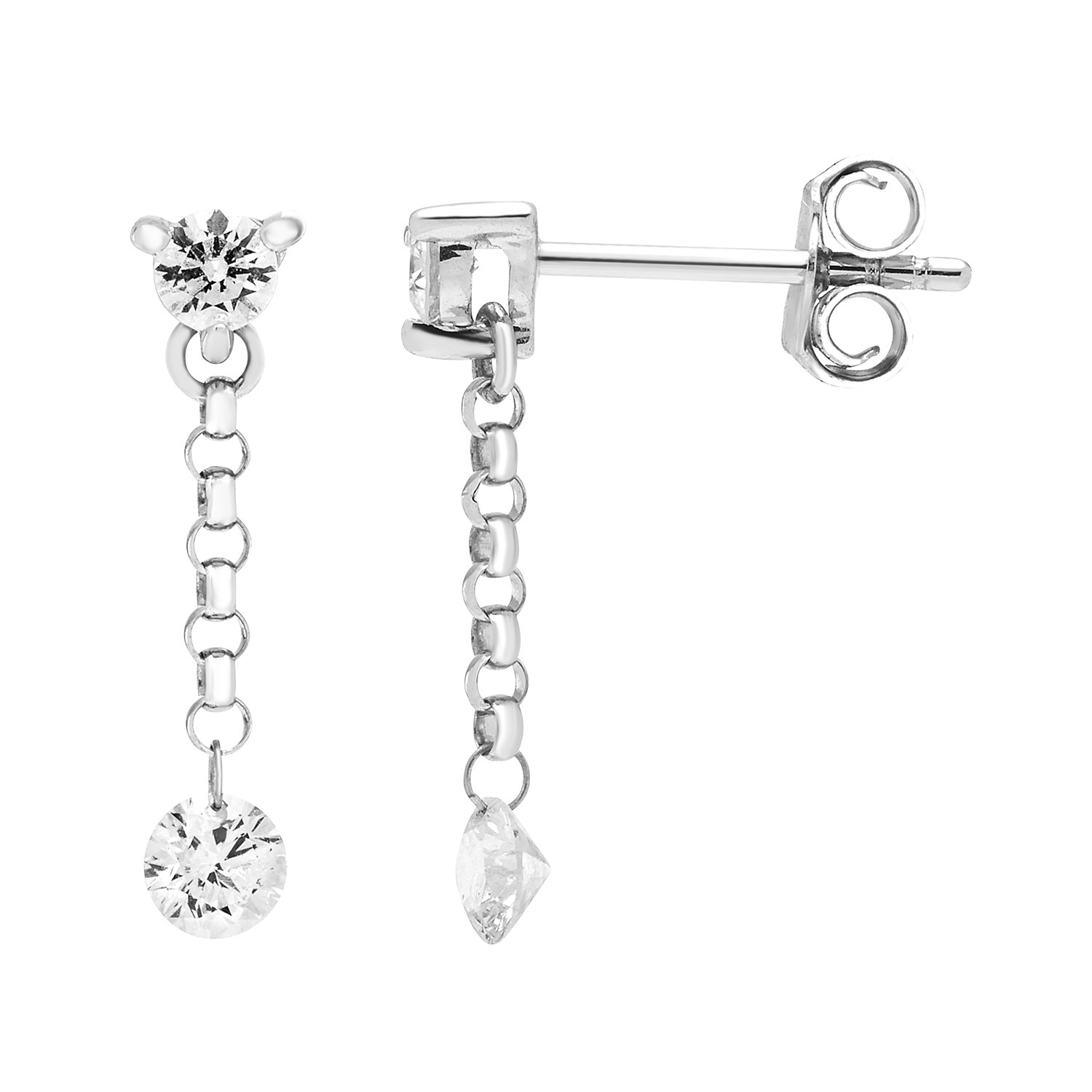 Brilliance in Motion 14k White Gold 1/2 Ctw. Diamond Dangle Earrings