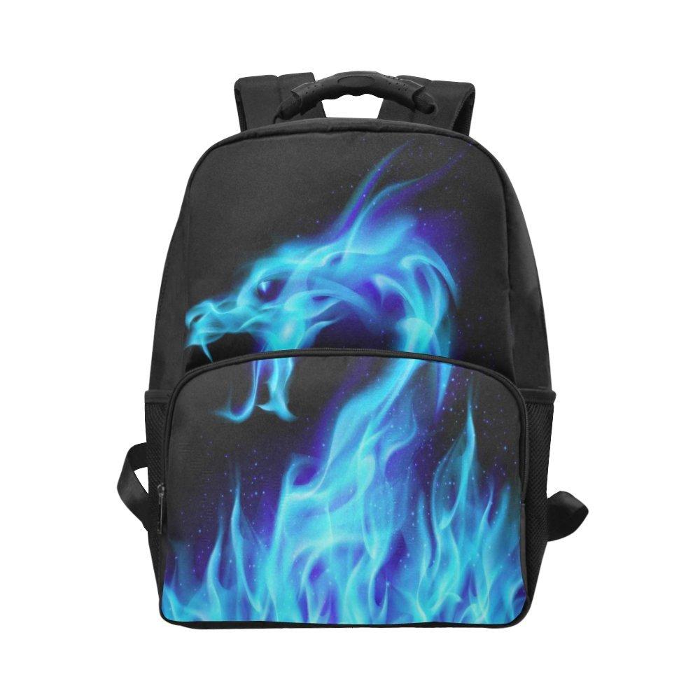 70%OFF InterestPrint Blue Fiery Dragon Custom Casual Backpack School Bag  Travel Daypack Gift 098793825f