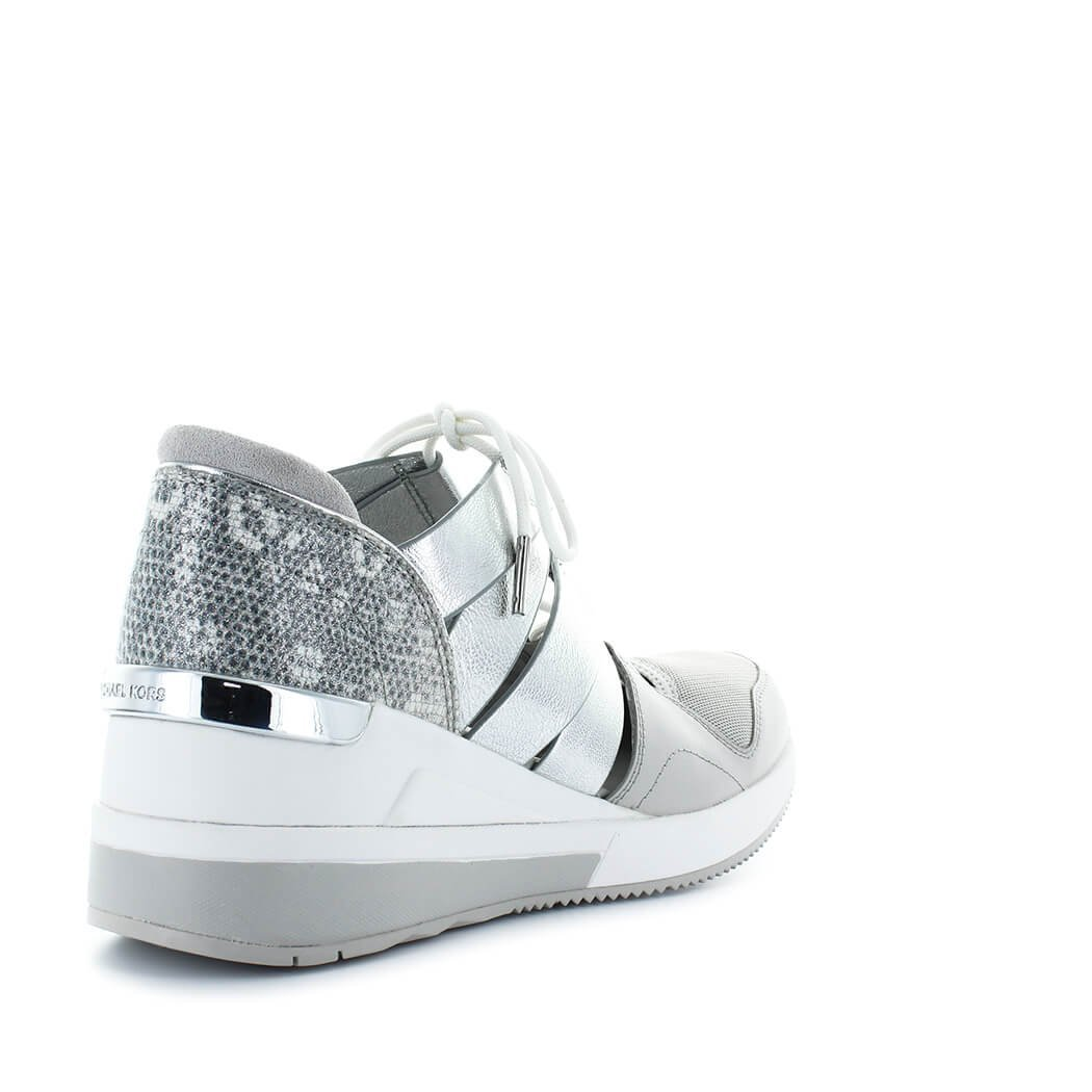 Amazon.com | Michael Michael Kors Beckett Lizard-Embossed Leather & Metallic Sneakers Alum/Silver (10) | Fashion Sneakers