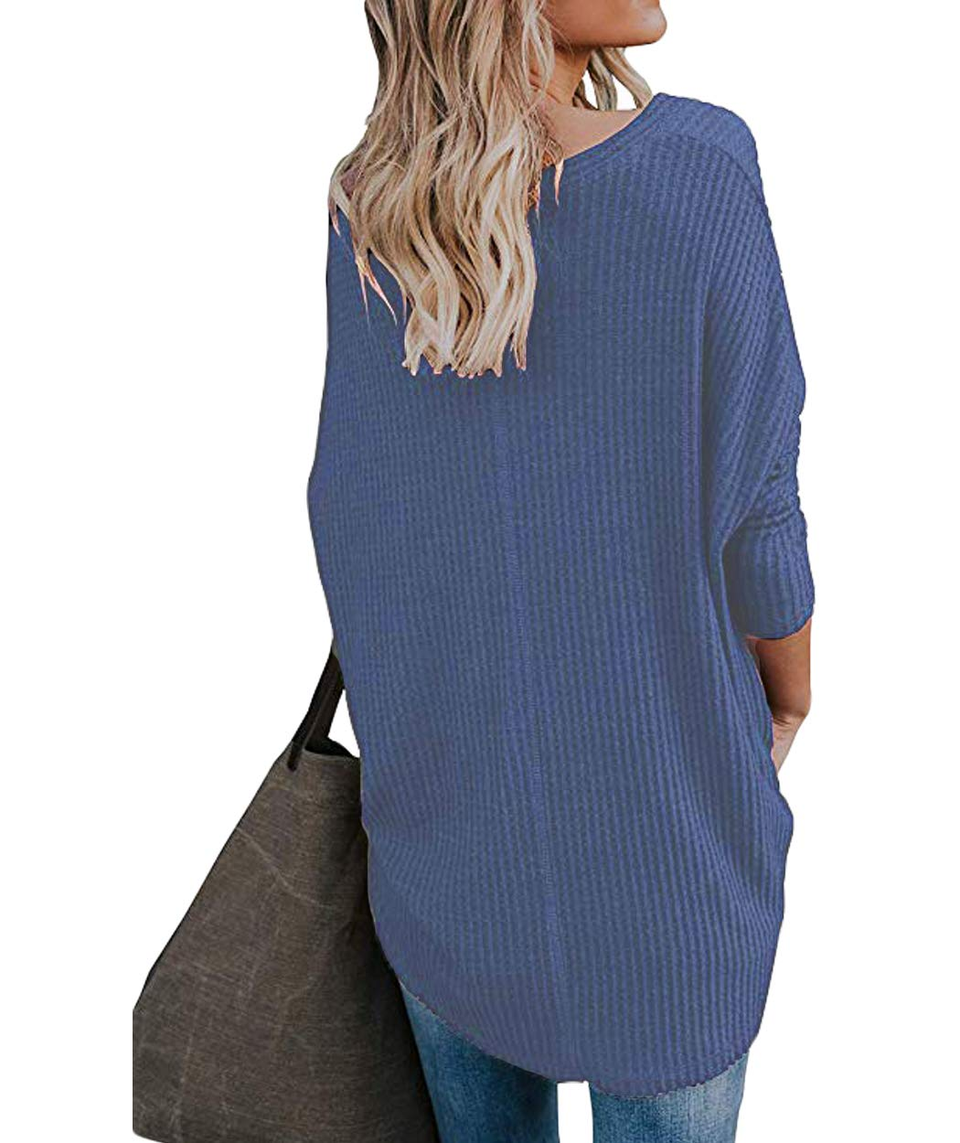 Eanklosco Tie Knot Tops Womens Waffle Knit V Neck Blouse Button Down Long Sleeve Henley Shirt (Blue, XXL)
