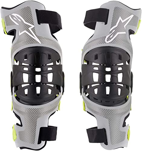 Alpinestars Men's Bionic-7 Off-Road Motocross Knee Brace Set, Silver/Yellow, X-Large