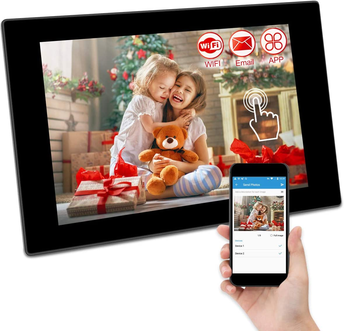 GRC 10.1 Inch WiFi Digital Photo Frame with IPS Full HD Touch Screen, Add Photos and Videos from Email App iOS Android Facebook Twitter, 16GB Internal Storage, Support SD Card and USB Flash Drive