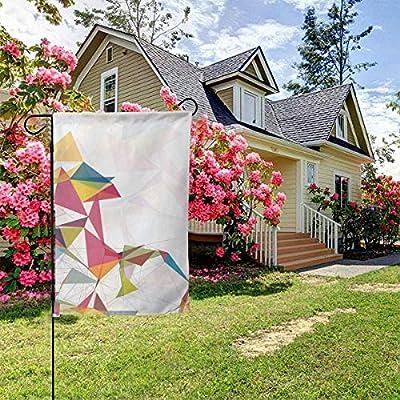 OMNVEQ Bandera de Jardín Círculos de triángulos de Malla futurista Bandera de Temporada Festiva para Decoración de Exteriores Jardín Patio Bandera de Impresión a Doble Cara: Amazon.es: Jardín